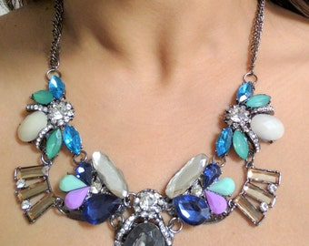 Purple Vintage Crystal Statement Necklace, Crystal Flower Drops pendant,j CREW style bib crystal necklace, gunmetal chain