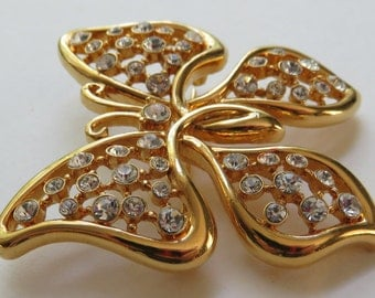 Vintage Monet Brooch Vintage Jewelry Butterfly Pin Vintage Costume Jewelry Gold Tone Rhinestone Butterfly Brooch