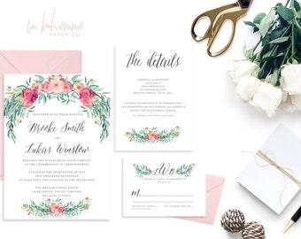 Printable Wedding Invitation Suite / Garden Invitation, Wedding Invite Set -  Bohohemian Garden Suite