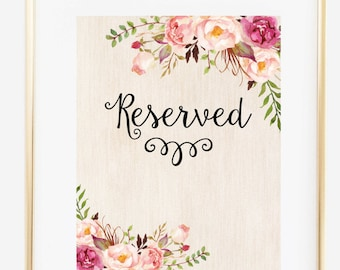 Reserved Sign, Party Reserved Sign, Seating Chart, Wedding Reserved Sign, Reserved Table Sign, Wooden Reserved Print, Instant Download,