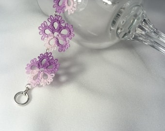 Tatted floral bracelet - tatting jewelry purple