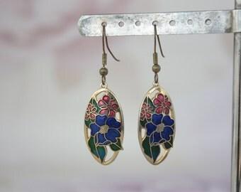 Colourful Enamel Earrings - Japanese Style Earrings - Cloisonné Flower Earrings - Oval Dangle Earrings - Art Nouveau Style Earrings