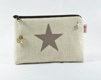 small cosmetic bag made from natural linen with star makeup bag zipper