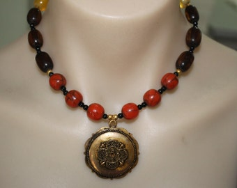Vintage and Up Cycled Beaded Necklace with Gold Tone Pendant