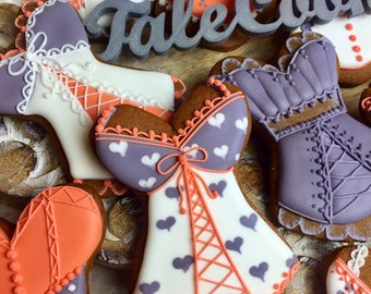 Corset Favors (12) for Bachelorette Party & Birthdays, Bra Cookies, Lingerie Cookies, Dress Cookies, Adult Cookies, Bride Squad cookies