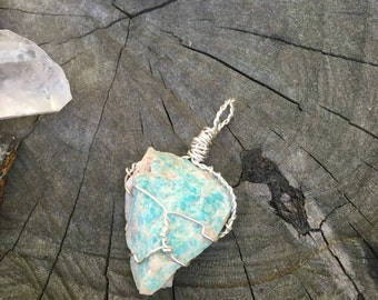Amazonite Siler Wire Wrapped Pendant