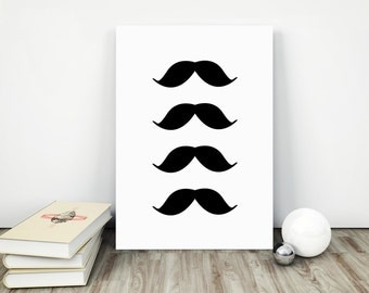 Mustache Print, Hipster Print, Black and white Wall Art, Black and White Mustache Print, Minimalist Poster, Office decor, Mustaches Wall Art