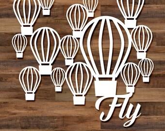 Fly cut file set - 5 files, hot air balloons, svg cut files