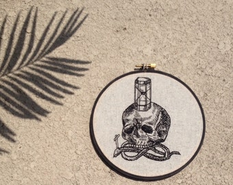 Hand Embroidered Skull and Snake Hoop