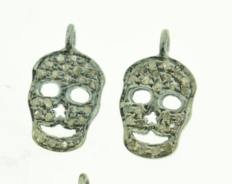 Skull Pave Diamond in Sterling Silver Pendant