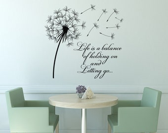 Dandelion Wall Decal Quote Life Is A Balance Holding On Letting Go- Inspirational Quote Wall Art Vinyl Lettering Bedroom Flower Decor #15