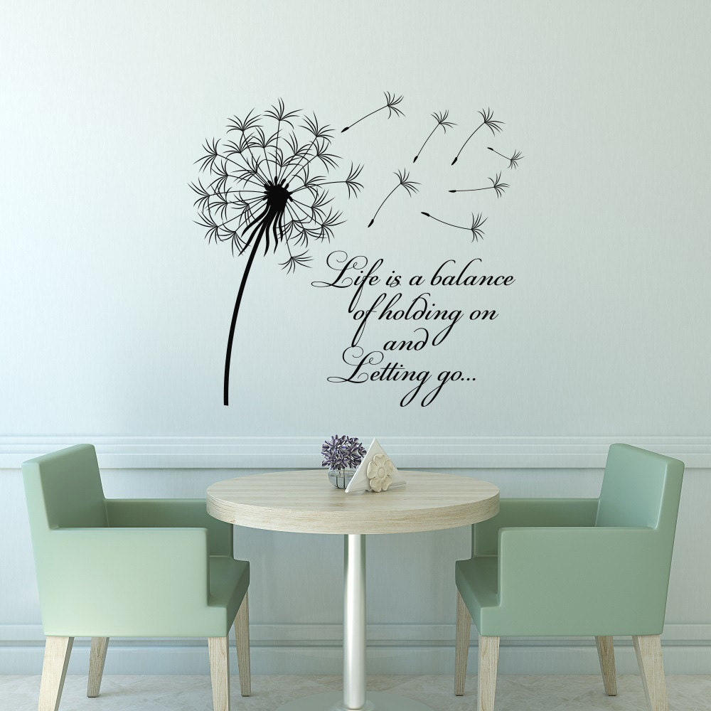 Bedroom wall art quotes - Dandelion Wall Decal Quote Life Is A Balance Holding On Letting Go Inspirational Quote Wall Art Vinyl Lettering Bedroom Flower Decor 15