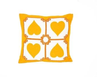 Vintage Pillow Cover -- Heart Print Accent Pillow Case -- Scandinavian Folk Throw Pillow -- Marigold Yellow Orange & White -- 16 x 16