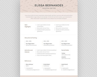 "Resume Template / CV Template + Cover Letter for MS Word and Photoshop | Instant Digital Download - ""Gienah"""