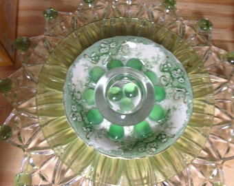 Upcycled Garden Plate Flower // Garden Art // Garden Art Decor // Yard Art // Green, Clear, green stones and Vintage bowl