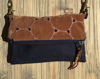 Denim with faux Brown Suede Fold Over • Cross Body • Clutch • Hip Bag • Handbag