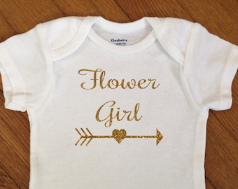 Glitter Flower Girl Arrow Shirt, Flower Girl Gift, Glitter Bodysuit, Infant Onesie®, Wedding Shirt, Glitter Girl Gift, Marriage, Heart Arrow