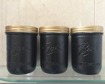 3 Piece Black and Gold Wide Mouth Mason Jars