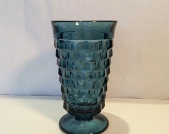 Whitehall Blue Footed Tumblers, Set of 7; Vintage Cube Pattern Glasses