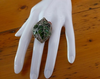 Vintage Lady Beetle or Ladybug on Leaf Ring, 925 Sterling Silver Enamel and Marcasite Ring, Christmas Gift