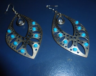 St Valentin Boucles ears, 1990, silver, stones-turquoise/length 8 cm/Original