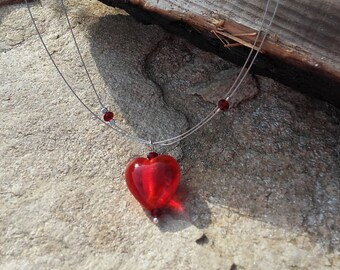 Red glass heart