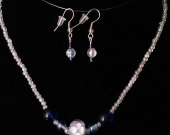 """17"""" Blue, White and Iridescent Necklace  #16"""