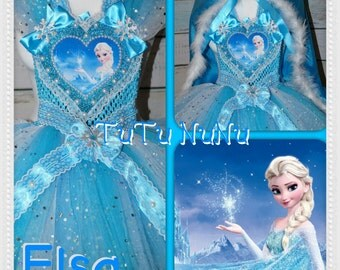 Handmade Girls Princess Elsa Frozen Tutu Dress