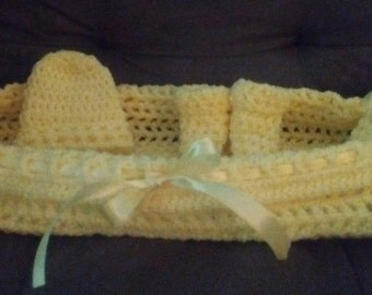 Infant beanie,booties , pod, cradle,basket, photo prop, everyday use