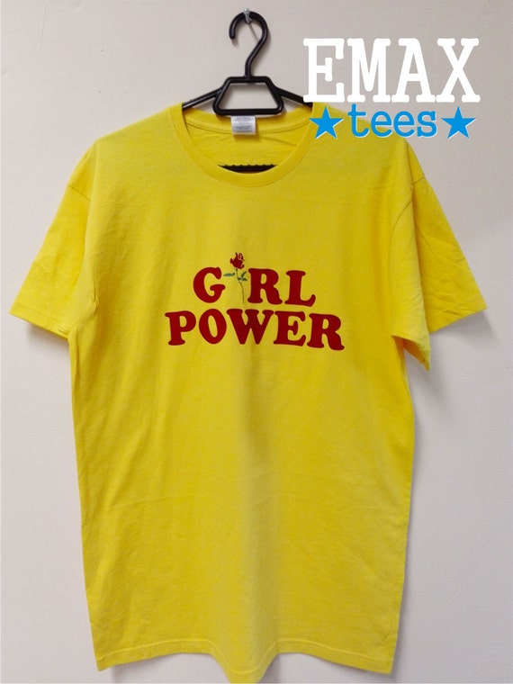 Girl Power T-shirt with Rose Print in Yellow Roses Girl