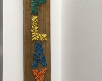PLAY - String art on wood