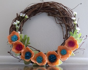 "Felt Flower Wreath, Orange, Teal, Pink, Grapevine, 14"", Summer Wreath, Spring Wreath"