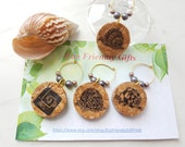 "Cork Charms Set  - Wine Cork Wineglass Charms Set - Wine Charm Set ""snail"" - Wine Charms - Wine Accessories - Wine Lover"