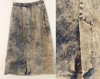 Vintage Acid Wash Denim Jean Skirt Knee Length Stretch Waistband 80s Nostalgia