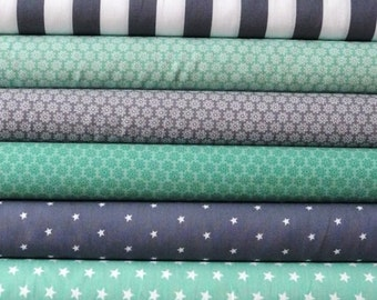 Fabric 6 piece fabrics grey and Mint cottage patchwork 25x35cm