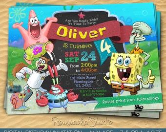 Spongebob, Spongebob Invitation, Spongebob Party, Spongebob Birthday, Spongebob Printable, SquarePants, Patrick, Squidward, Krabs