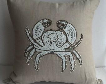 Coastal Nautical Crab Decorative Pillow Cover, Hand Made, Burlap Line, White & Beige, 20x20