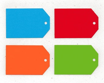 Coloured Tags x10 in Blue, Red, Orange and Green