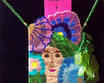 """Handmade 2-Sided Beaded """"Flower Lady with Leaves"""" Pouch/Pocket Necklace"""