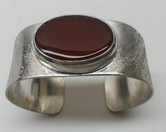 Textured Sterling Silver and Carnelian Cuff