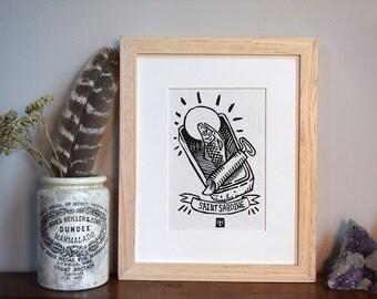 Saint Sardine- Hand Printed Linocut, fish print, linocut print, original art