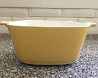 Vintage Corning Ware Harvest yellow casserole dish, Corningware