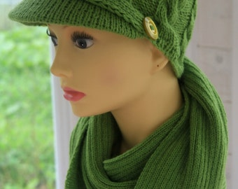 Set of 2: Lime green Alpaca Handknitted Women's Newsboy Cap with cables Woman hat with brim visor and knitted scarf