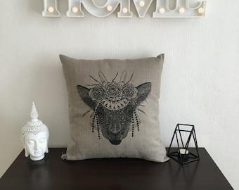 Decorative pillows, pillow covers, linen pillow, linen pillowcase, goat pillows, animal print