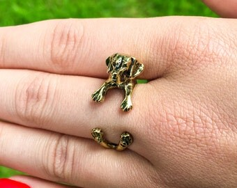 Antique Gold Plated Labrador Ring, Puppy, Pet Lovers, Labrador Adjustable Ring, Antique Gold Dog Ring