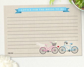 Two Bicycles Love Bridal Wedding Shower Advice Card, Instant Download PDF