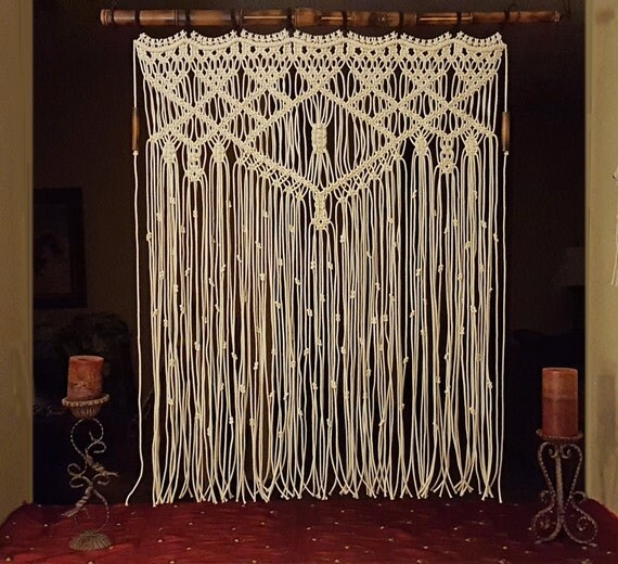 Large Macrame Wall Hanging Bamboo Window Curtain By