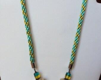 Green and aqua kumihimo necklace