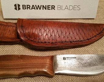 Hunting knife with Walnut handle and handmade blade and sheath