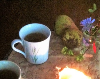 Tea Times 3 with Candle in Oyster Shell, Oriental Pear, Flowers  jpg image download